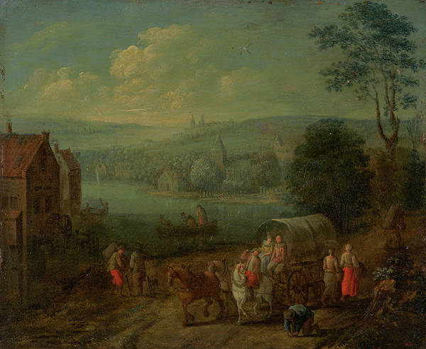 Painting - River Landscape With Villages And Travelers by Peeter Gysels