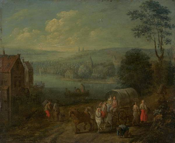 Wall Art - Painting - River Landscape With Villages And Travelers by Follower Of Peeter Gysels