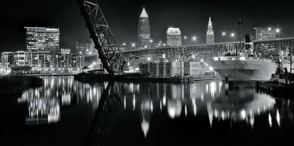 Wall Art - Photograph - River Lights In Black And White by Frozen in Time Fine Art Photography