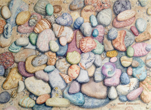 Wall Art - Painting - River Rocks And Sea Shells by Wendy Jorgensen