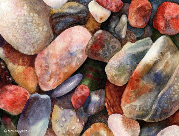 Wall Art - Painting - River Rocks by Anne Gifford
