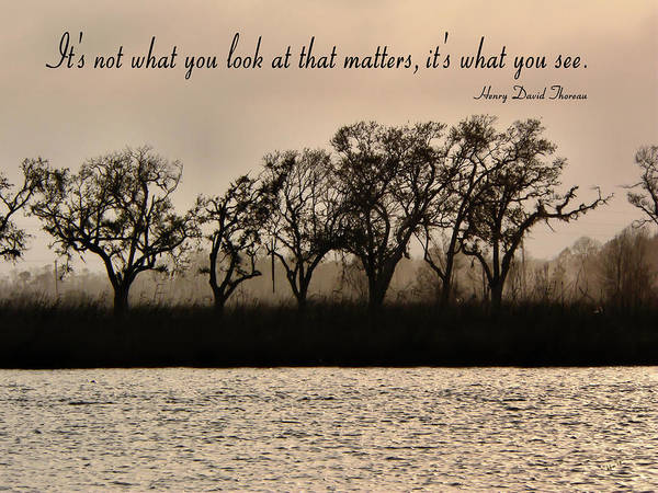 Photograph - River Scene With Thoreau Quote by Kathy K McClellan