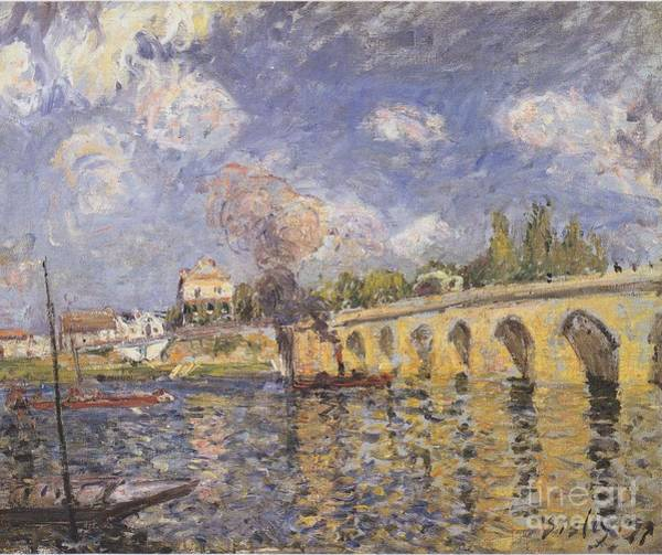 Painting - River Steamboat And Bridge by Celestial Images