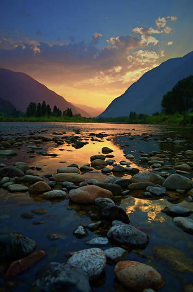 Photograph - River Stones And Sunsets by Tara Turner