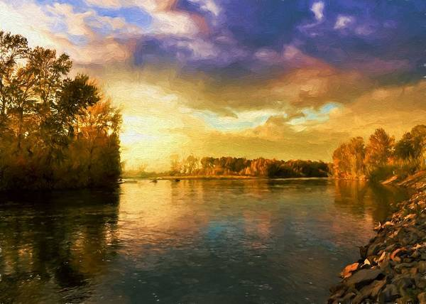 Digital Art - River Sunset by Charmaine Zoe