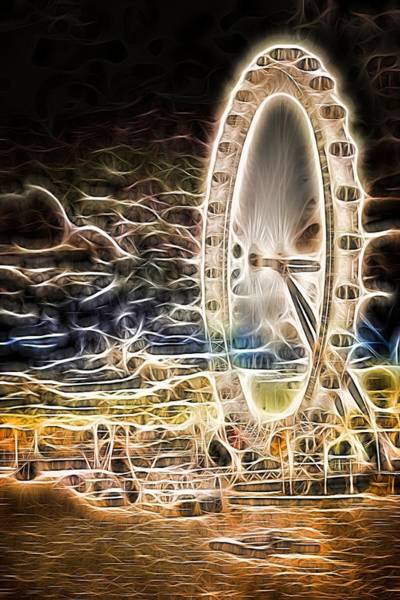 Photograph - River Thames And The London Eye Neon Art by John Williams