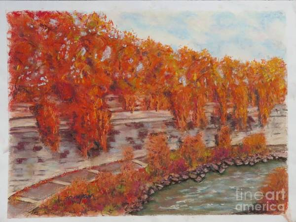 Pastel - River Tiber In Fall by Laurie Morgan