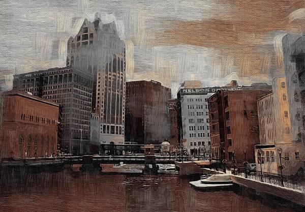 Digital Art - River View Aged by Anita Burgermeister