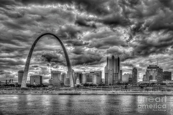 Photograph - River View B W The Gateway Arch St Louis Missouri Cityscape Art by Reid Callaway