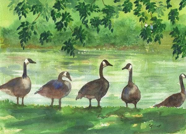Water Fowl Painting - River Walk Or Where Is Waldo by Marsha Elliott