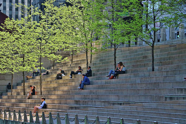 Photograph - Chicago Riverwalk Urban Park by Allen Beatty