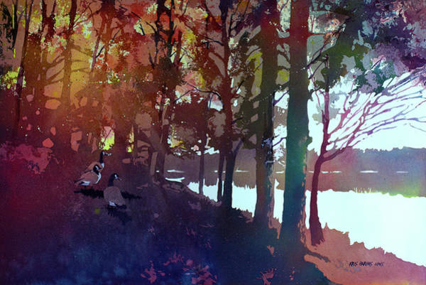 Waterway Painting - Riverbank Gathering by Kris Parins
