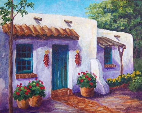 Red Geraniums Wall Art - Painting - Riverbend Adobe by Candy Mayer