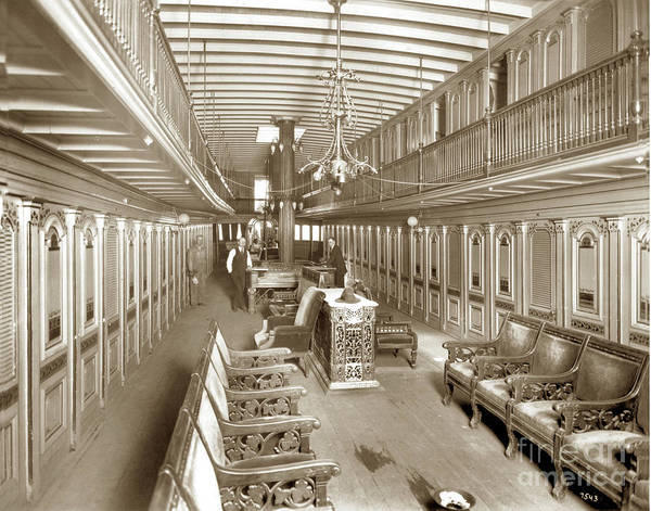 Photograph - Riverboat Interior Positively No Gambling  Circa 1900 by California Views Archives Mr Pat Hathaway Archives