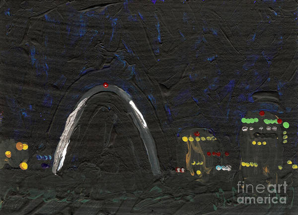 St Louis Arch Painting - Riverfront At Night 4 by Helena M Langley
