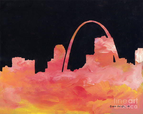 Gateway Arch Painting - Riverfront by Joseph A Langley