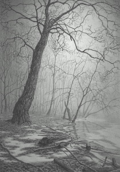 Mist Drawing - Rivers Edge by Barry DeBaun