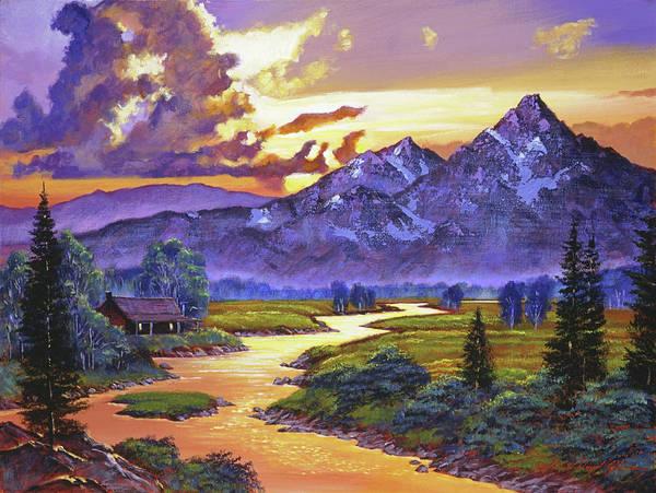 Painting - Riverside Cabin by David Lloyd Glover