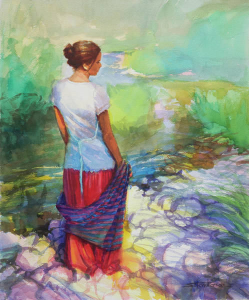 Pristine Wall Art - Painting - Riverside Muse by Steve Henderson