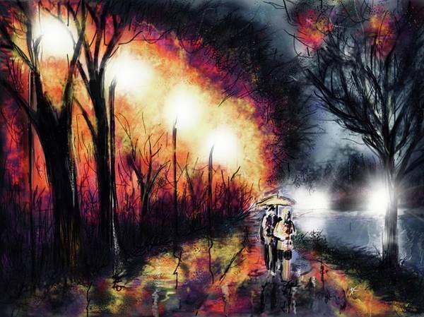 Digital Art - Riverside Night by Darren Cannell