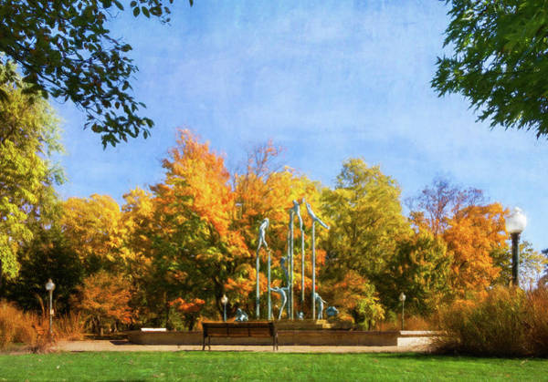 Fox Mixed Media - Riverside Park Fountain by Joel Witmeyer