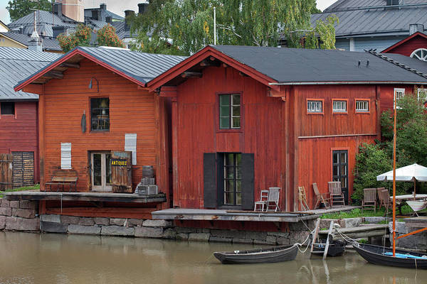 Photograph - Riverside Storage Buildings In Porvoo by Aivar Mikko