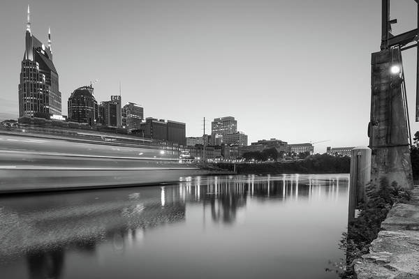 Photograph - Riverview Skyline Of Nashville Tennessee - Black And White Edition by Gregory Ballos