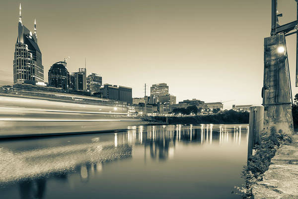 Photograph - Riverview Skyline Of Nashville Tennessee - Sepia Edition by Gregory Ballos
