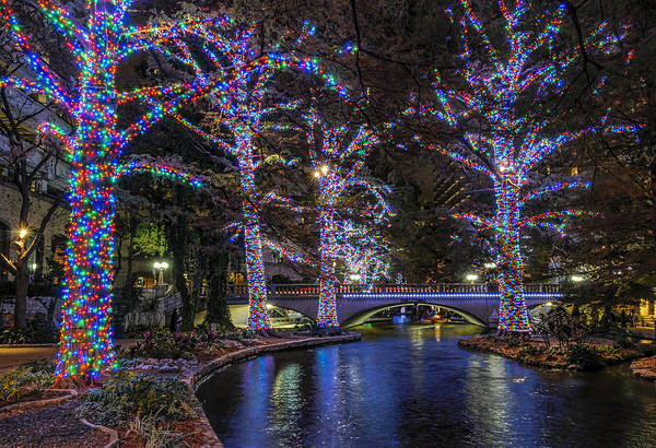 Photograph - Riverwalk Christmas by Steven Sparks