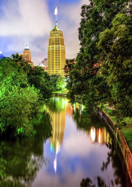 Photograph - Riverwalk Reflections Of The San Antonio Texas Skyline by Gregory Ballos