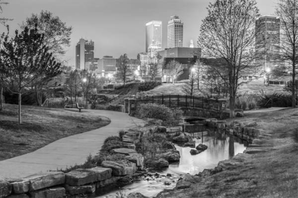 Centennial Photograph - Riverwalk To The Tulsa Oklahoma Skyline Black And White by Gregory Ballos