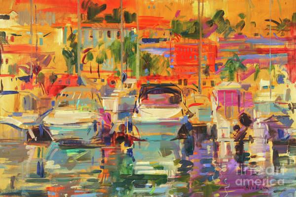 Wall Art - Painting - Riviera Harbor Sun by Peter Graham