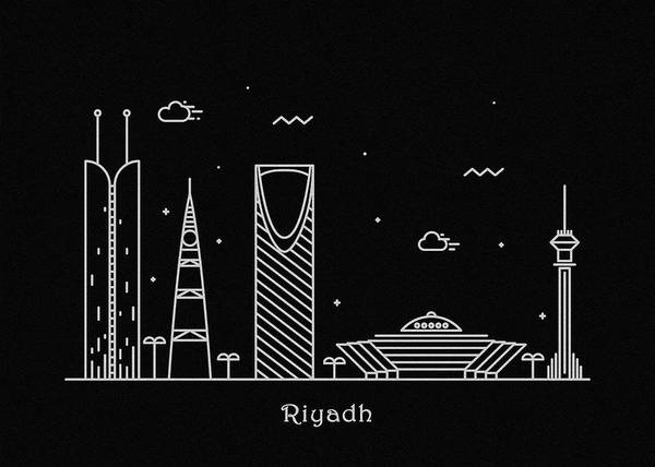 Arabian Drawing - Riyadh Skyline Travel Poster by Inspirowl Design