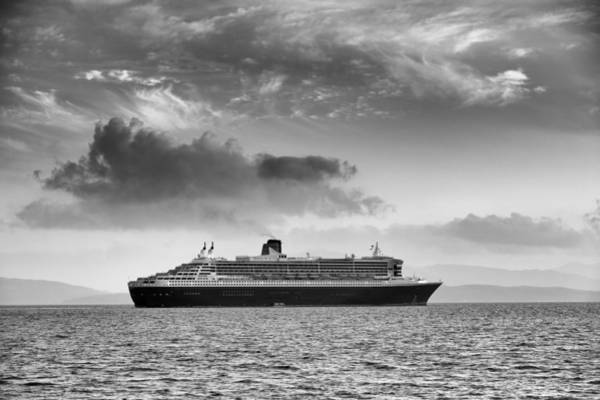 Photograph - Rms Queen Mary 2 Mono by Grant Glendinning