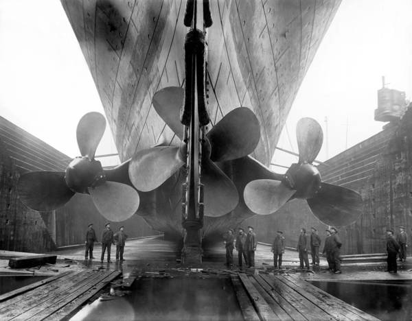 Dry Dock Photograph - Rms Titanic Propellers by War Is Hell Store