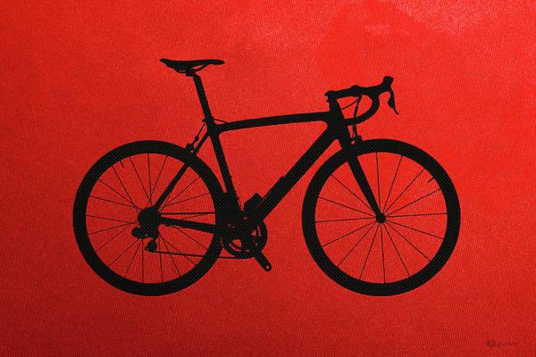 Digital Art - Road Bike Silhouette - Black On Red Canvas by Serge Averbukh