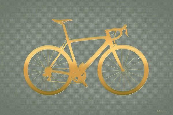 Digital Art - Road Bike Silhouette - Gold On Beige Canvas by Serge Averbukh