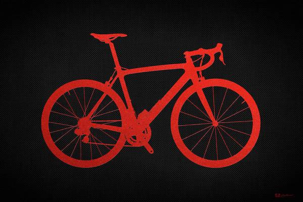 Digital Art - Road Bike Silhouette - Red On Black Canvas by Serge Averbukh