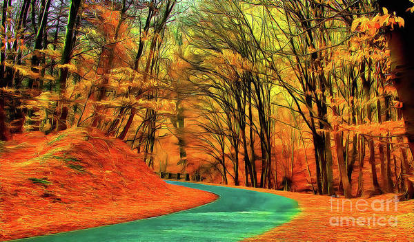 Painting - Road Leading Through The Autumn Woods by Odon Czintos
