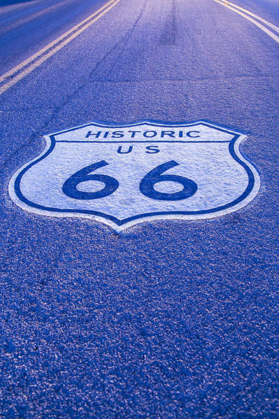 Historic Route 66 Photograph - Road Sign Route 66 by Garry Gay