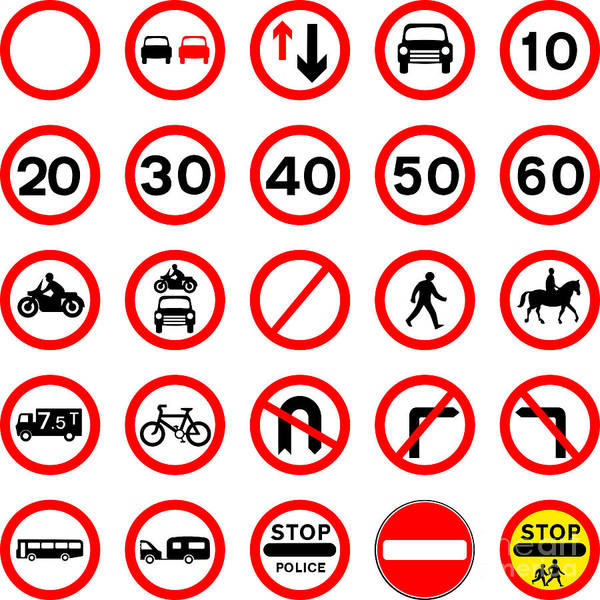 No Entry Digital Art - Road Signs - Red Round. by Bigalbaloo Stock