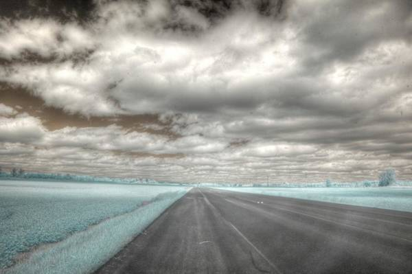 Wall Art - Photograph - Road Sky Infrared Clouds Landscape Open Road Travel Path Road Trip by Jane Linders
