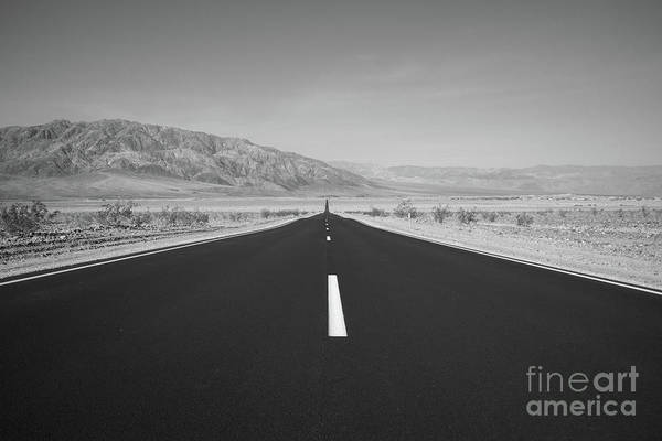 One Way Road Photograph - Road To Death Valley Bw by Michael Ver Sprill