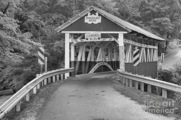 Garrett County Wall Art - Photograph - Road To The Burkholder Covered Bridge Black And White by Adam Jewell