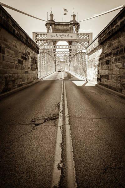 Photograph - Road To The John A. Roebling Bridge - Cincinnati Ohio - Sepia by Gregory Ballos