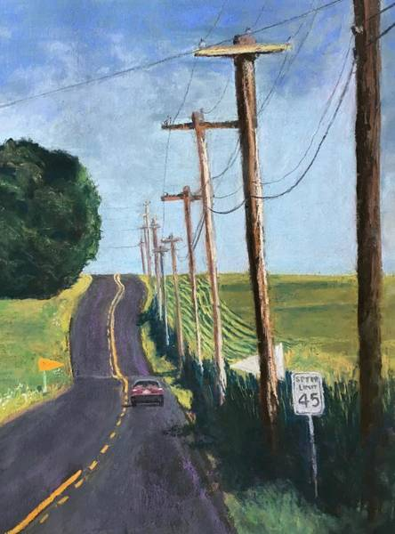Utility Poles Painting - Road Trip by Cathy Delnore Collins
