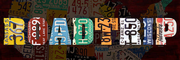 Wall Art - Mixed Media - Road Trip Usa Map Recycled Vintage License Plate Lettering Phrase by Design Turnpike