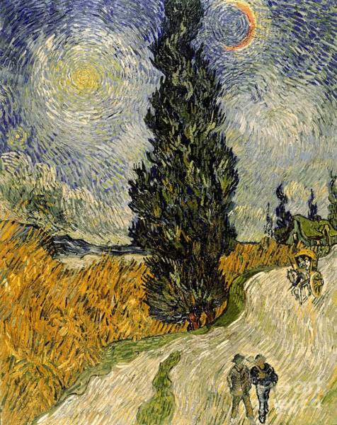 Vincent Van Gogh Painting - Road With Cypresses by Vincent Van Gogh