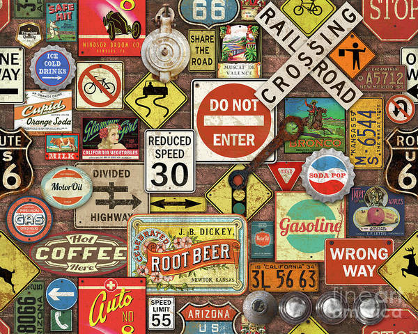 Wall Art - Painting - Roads Signs On Brick-jp3957 by Jean Plout