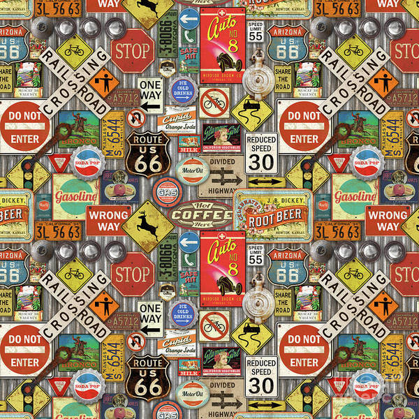Wall Art - Painting - Roads Signs On Steel-jp3959-b by Jean Plout